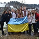 Ukrainian flag in the middle of Zakopane